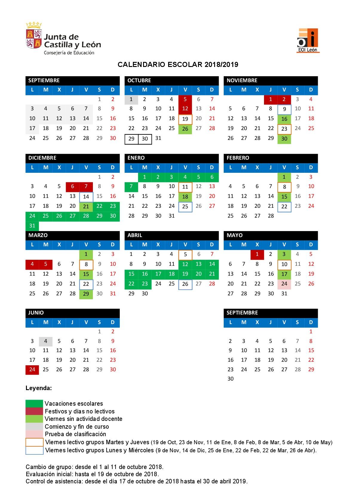 Calendario Escolar 2020 Cyl.Escuela Oficial De Idiomas De Leon